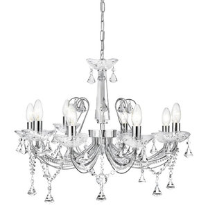 Lafayette Crystal Chandelier With Clear Crystal Column