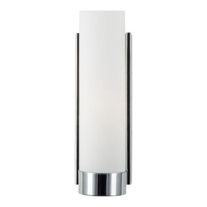 1-Light Bath Vanity Elina Wall Sconce With Frosted Glass Shade, Polished Chrome
