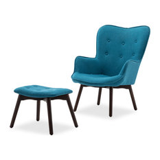 Tufted Upholstered Lounge Chair With Ottoman Blue