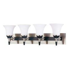 Brushed Nickel With Ebony Wood and Satin White Glass 4-Light Bath Vanity Wall