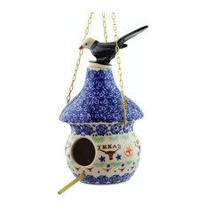 "Polmedia Polish Pottery 10"" Stoneware Birdhouse"