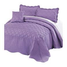 Quilted Cotton 4 Piece Bedspread Set, Sea Fog, Queen