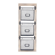Contemporary Wood and Iron 3-Tier Basket Wall Rack With Label Slot