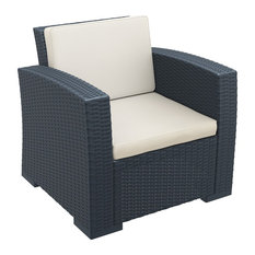 Monaco Resin Patio Club Chair With Cushion, Dark Gray