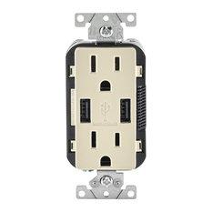 Leviton 15 Amp Light Almond USB & Receptacle Combination Outlet