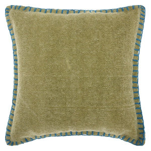 "20""x20"" Mina Victory Life Styles Stitched Border Green Throw Pillow"