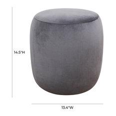 Willow Velvet Ottoman Grey