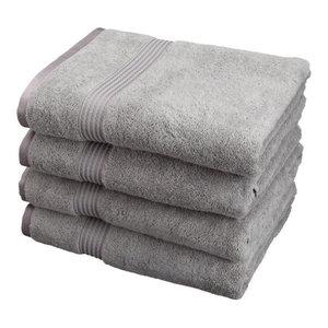 600 GSM 4-Piece Long Staple Combed Cotton Bath Towel Set, Silver