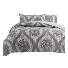 DaDa Bedding Classical Grey Floral Mosaic Medallion Quilt Coverlet Bedspread Set