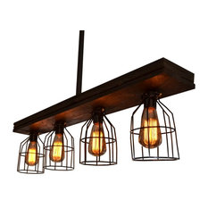 West Ninth Vintage   Fayette Caged Wood Light   Kitchen Island Lighting