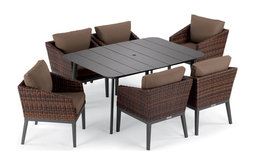 Salino 7-Piece Dining Table Set, Eiland Table, Carbon and Sable, Toast