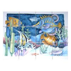 Tropical Fish Blue Kiln Fired Ceramic Tile Mural Backsplash, 12-Piece Set