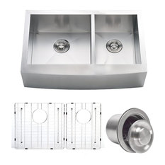 Zach Contemporary Stainless Steel Farmhouse Double Kitchen Sink, 33""