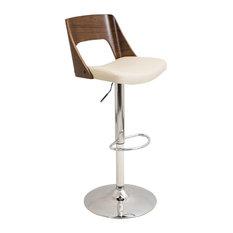 Valencia Height Adjustable Mid-Century Modern Barstool With Swivel Cream