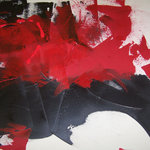 Donna B Fine Art - Red & Black II By Donna B - Contemporary abstractive original painting, by Donna B Fine Art. Textured and organic in red, black and white.