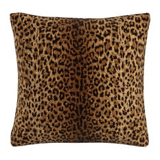 """Skyline 20"""" Square Feather Fill Throw Pillow, Cheetah Earth"""