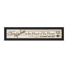 """""""Kitchen is The Heart of The Home"""" Ready To Hang Framed Print, Black"""