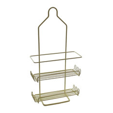 Two Tier Deluxe Shower Caddy Rack Organizer With Shelves Beige