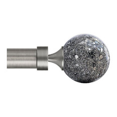 Flash Sphere Curtain Rod Finials, Silver, Set of 2