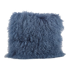 "Mongolian Lamb Fur Design Down Filled Throw Pillow, 20"" Square, Blue-Gray"