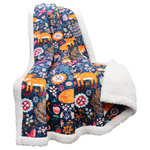 Lush Decor - Pixie Fox Throw Navy Sherpa - This cute and fun throw is a great pickup for children of all ages. Foxes are playfully frolicking in a field and appear as if they are truly in motion.