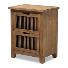 Clement Rustic Transitional Medium Oak Finished 2-Drawer Wood Spindle Nightstand