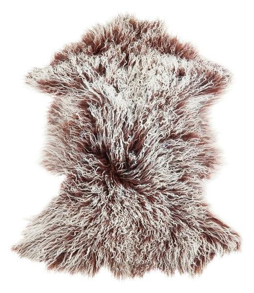Genuine Tibetan Mongolian Lamb Fur Pelt Frosted Mocha
