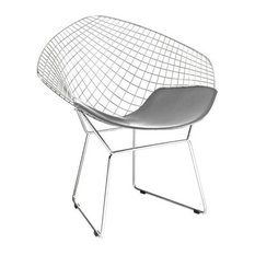 Modern Selections   Wire Mesh Diamond Accent Chair In Chrome Finish,Gray  Seat Pad
