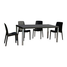 Oslo Six Person Table With 4 Rue Chairs In Brown