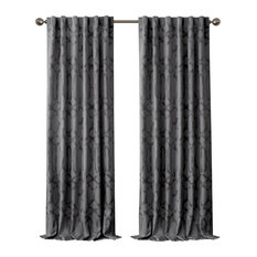"Darla Ironwork Blackout Rod Pocket/Back-Tab Curtain Panel, Dark Gray, 52""x95"""