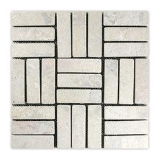 "12""x12"" Cream Weave Stone Mosaic Tile"