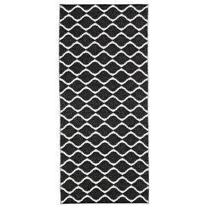 Wave Woven Vinyl Floor Cloth, Black, 70x200 cm