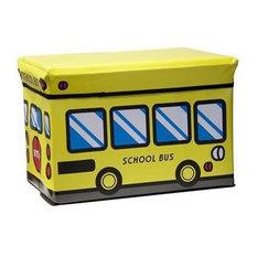Kids Folding Ottoman Storage Seat Toy Box, Small, School Bus
