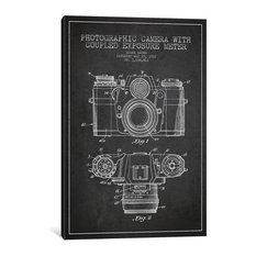 """Camera Charcoal Patent Blueprint"" by Aged Pixel, 18""x12""x.75"""