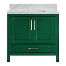 "Kendall Emerald Green Bathroom Vanity, 36"", Vanity With Carrara Marble Top"