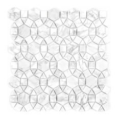 """Miseno MT-WHSMARRNG-CA Marble - 3"""" x 6"""" Deco Wall Mosaic Tile - - White"""