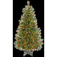 Natural Fraser Slim Fir Tree With Multicolor Lights, 4.5'