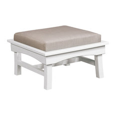 Bay Breeze  Large Ottoman w/ Cushion, White/Spotlight Ash Cushion