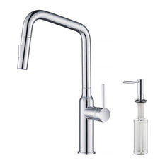 KIBI Macon Single Handle High Arc Pull Down Kitchen Faucet KKF2007, Chrome, W/ S