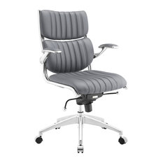 Ribbed Faux Leather Ergonomic Mid Back Office Chair, Gray