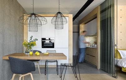 Houzz тур: Квартира 41 кв.м — бетон и синяя фанера