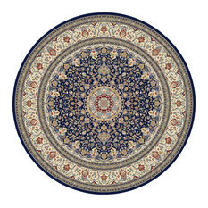 """Ancient Garden Traditional Rug, Navy/Border Color Ivory, 7'10""""x7'10"""" Round"""