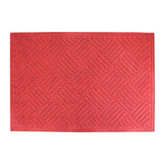"""A1HC First Impression Parquet 24"""" X 36"""" Eco-Poly Indoor/Outdoor Mat, Red"""