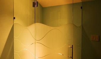 Custom Frameless Curved Glass Hinged Door, Custom Sandblast Design