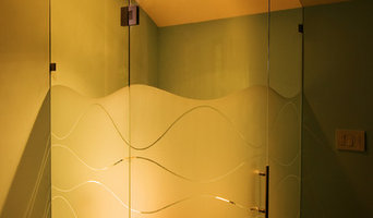 Custom Frameless Curved Glass Hinged Door, Custom Sandblast Design