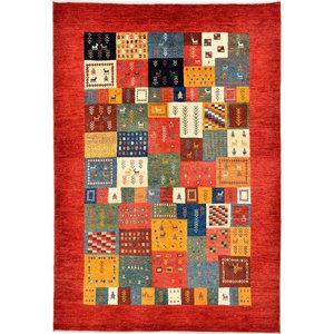 Gabbeh Loribaft Oriental Rug, Hand-Knotted Modern, 221x152 cm
