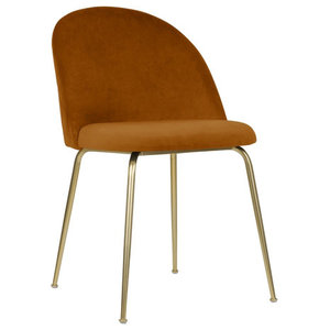 Velvet Brass Modern Dining Side Chair, Amber