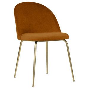 Velvet Brass Modern Dining Side Chair, Amber