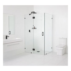 "Frameless 90 Degree Enclosure, Hinge Style, Matte Black 78""x34.5""x34.5"""