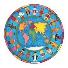 """Kid Essentials Rug, Hands Around the World, 7'7"""" Round"""